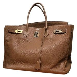 HERMES Birkin 40 cm In Gold Clemence Leather